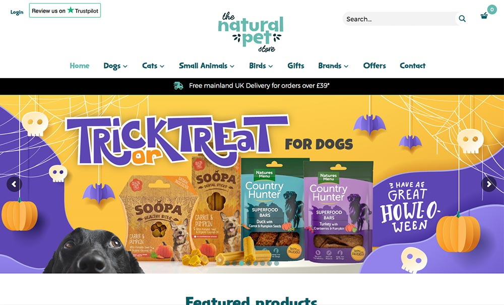 natural pet store web design